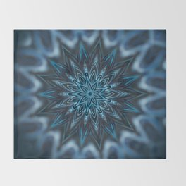 Blue Ice Swirl mandala Throw Blanket