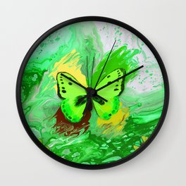 Neon Green Butterfly Wall Clock