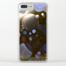 Bronze Gold Blue Moon 3D Pattern Clear iPhone Case