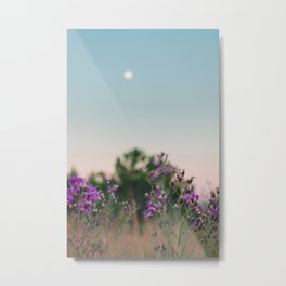 Wild flowers in the forest with full moon at dawn Metal Print
