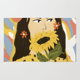 Sunflowers In Your Face Rug