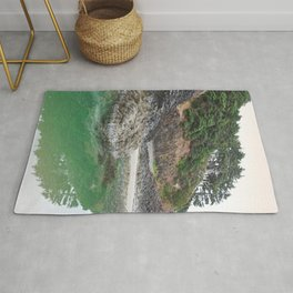 Oregon Coast Tide Pool Green Glowing Forest Coastal Cliff Rocky Landscape Beach Northwest Volcano Rug
