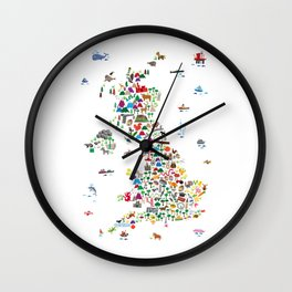 Animal Map of Great Britain & NI for children and kids Wall Clock