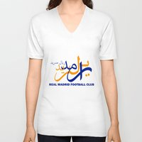 madrid V-neck T-shirts featuring Real Madrid by Sport_Designs