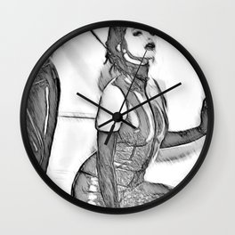 Good Girl knows her place, mistress and pet, slave girl fetish, black and white Wall Clock