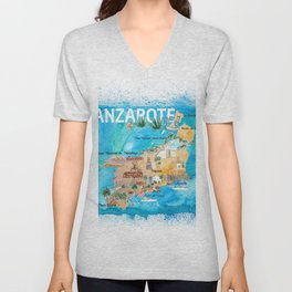 Lanzarote Canarias Spain Illustrated Map with Landmarks and Highlights Unisex V-Neck