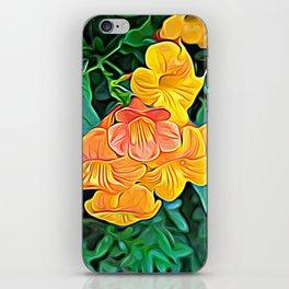 Orange Flowers of Flowing Circuitry iPhone Skin
