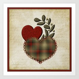 Red & Green Plaid Heart Love Letter Art Print