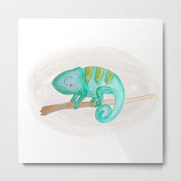 Animal Tales - Iguana in watercolor Metal Print