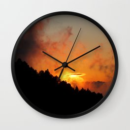 Stormy Dramatic Sunset Mountain Landscape Wall Clock
