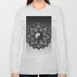 Yin and Yang Mandala (Black & White) Long Sleeve T-shirt