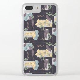 Flower Fracas Puple Clear iPhone Case
