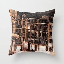 NIGHT SHOT OF A CHARMING STREET IN POLAND Throw Pillow