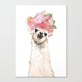 Llama with Beautiful Flowers Crown Canvas Print