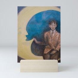 Watercolor Portrait of Boy on a Crescent Moon Mini Art Print