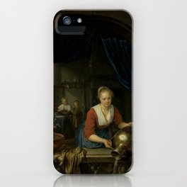 """Gerard Dou """"Maid at the Window"""" iPhone Case"""
