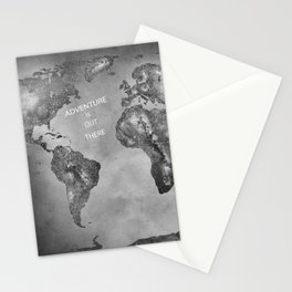 Adventure is out there... Stars world map BW Stationery Cards
