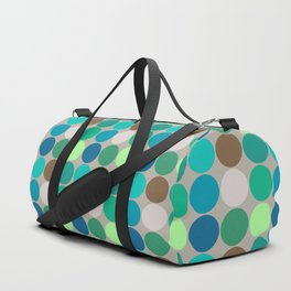 Mid-Century Giant Dots, Jade, Blue and Taupe Duffle Bag
