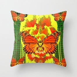ABSTRACT ART DECO MONARCH BUTTERFLIES YELLOW-GREEN Throw Pillow