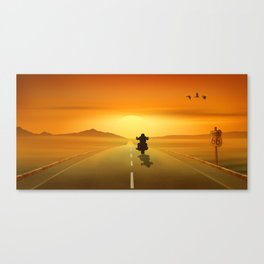 Biker On Route 66 Canvas Print
