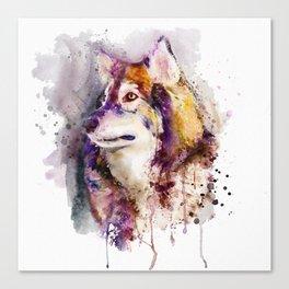 Watercolor Wolf Portrait Canvas Print