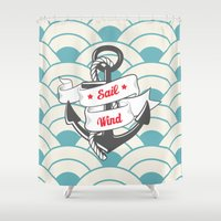 sailing Shower Curtains featuring Sailing by 16floor