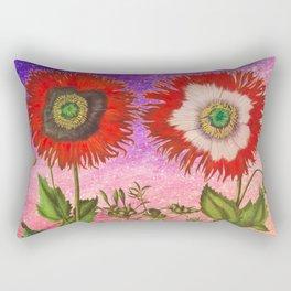 Vintage Botanical Collage - Poppies, Papaver Somniferum Rectangular Pillow