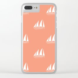 White Sailboat Pattern on coral background Clear iPhone Case