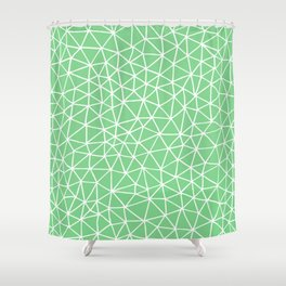 Connectivity - White on Mint Green Shower Curtain