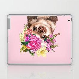 Flower Crown Baby Sloth in Pink Laptop & iPad Skin