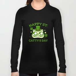 Happy St. Catty's Day St Patricks Funny Cat Clover Long Sleeve T-shirt