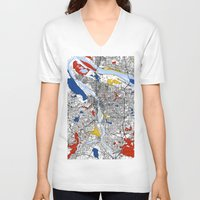 portland V-neck T-shirts featuring Portland map by Mondrian Maps