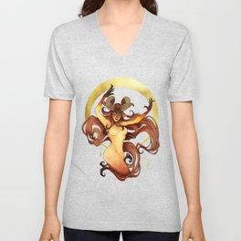Aries - Zodiac Sign - Fire - Watercolor Ink and gold foil painting Unisex V-Neck