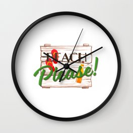 Beach Please Funny Wood Sign With Flip Flops For Beach Lover Wall Clock