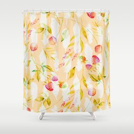 Spring Flowers and Feathers Pattern Shower Curtain