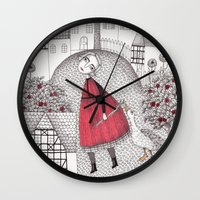 justin timberlake Wall Clocks featuring The Old Village by Judith Clay