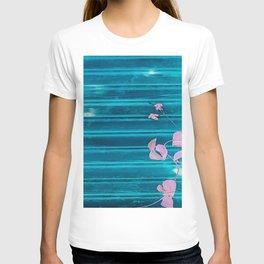 blue wooden wall pink jasmine minimal T-shirt