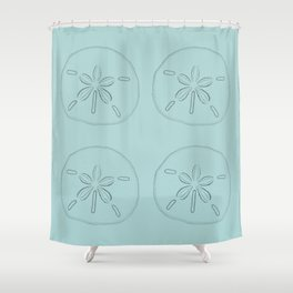 Sand Dollar Blessings Large Pattern - Pointilist Art Shower Curtain