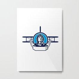 World War One Aviator Pilot Biplane Circle Retro Metal Print