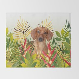 Little Dog with with Palm leaves Throw Blanket