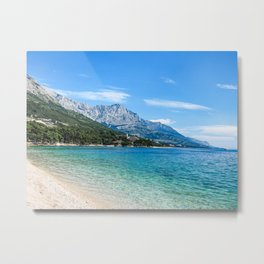 Blue Ocean Beach | Caribbean Island Clear Water Waves in Europe Mountain Landscape Beautiful Sky Metal Print