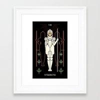 tarot Framed Art Prints featuring Tarot: Strength by Merlin