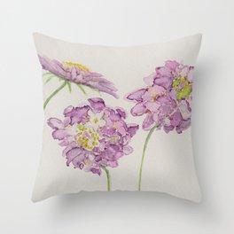 Watercolour Scabiosa Flower Throw Pillow