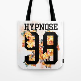 Floral sporty print with number and text on it. Tote Bag