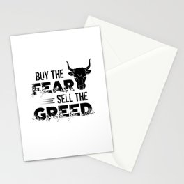 Buy The Fear, Sell The Greed Trader Stationery Cards