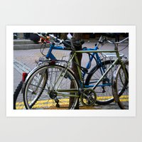 bicycles Art Prints featuring Bicycles by love indigo
