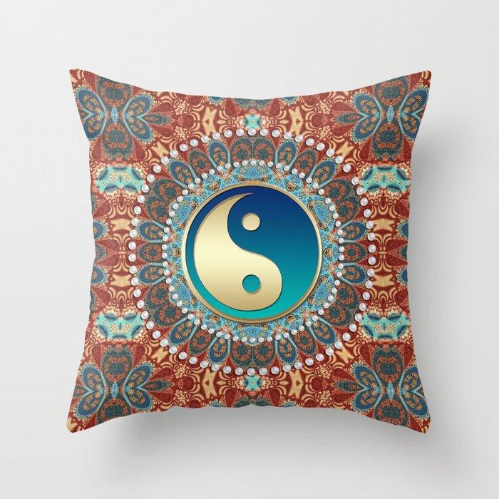 Bohemian Batik Yin Yang Throw Pillow
