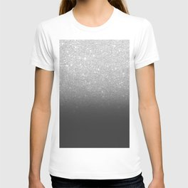 Modern faux silver glitter ombre grey black color block T-shirt