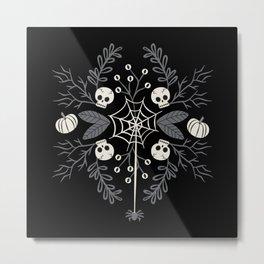 Halloween Damask Floral Metal Print