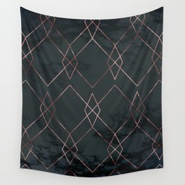 Modern Deco Rose Gold and Marble Geometric Dark Wall Tapestry